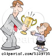 Happy Business Man Giving A Girl A Trophy