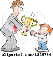 Clipart Of A Happy White Business Man Giving A Boy A Trophy Royalty Free Vector Illustration