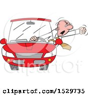 Cartoon White Senior Male Driver With Road Rage Waving His Fist Out Of The Window