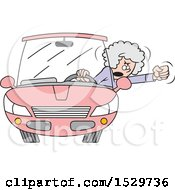 Cartoon White Senior Female Driver With Road Rage Waving Her Fist Out Of The Window