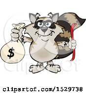 Clipart Of A Cartoon Bandit Raccoon Robber Thief Holding A Money Bag Royalty Free Vector Illustration