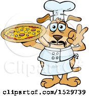 Clipart Of An Italian Sparkey Dog Chef Gesturing Perfect And Holding A Pizza Pie Royalty Free Vector Illustration