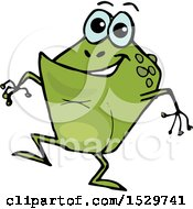 Clipart Of A Cartoon Happy Toad Frog Royalty Free Vector Illustration