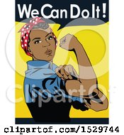 Clipart Of A Black Rosie The Riveter Flexing Her Muscles With We Can Do It Text Royalty Free Vector Illustration