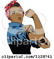 Clipart Of A Black Rosie The Riveter Flexing Her Muscles Royalty Free Vector Illustration by Dennis Holmes Designs