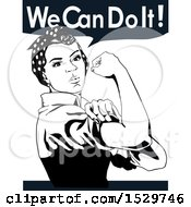 Clipart Of An African American Rosie The Riveter Flexing And We Can Do It Text Royalty Free Vector Illustration by Dennis Holmes Designs