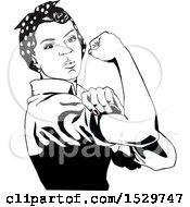Clipart Of A Black And White African American Rosie The Riveter Flexing Royalty Free Vector Illustration by Dennis Holmes Designs