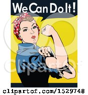 Clipart Of A Rosie The Riveter Flexing With We Can Do It Text Royalty Free Vector Illustration by Dennis Holmes Designs