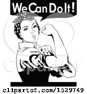 Poster, Art Print Of Rosie The Riveter Flexing And We Can Do It Text