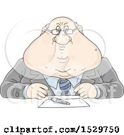 Clipart Of A Fat Strict White Business Man Sitting At A Desk Royalty Free Vector Illustration