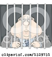 Clipart Of A Fat White Business Man Locked Behind Bars Royalty Free Vector Illustration