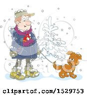 Clipart Of A Happy Man Walking His Puppy Dog In The Snow Royalty Free Vector Illustration