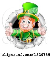 St Patricks Day Leprechaun Giving Two Thumbs Up And Breaking Through A Hole In A Wall