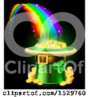 Clipart Of A St Patricks Day Leprechaun Hat Full Of Gold Coins At The End Of A Rainbow On Black Royalty Free Vector Illustration by AtStockIllustration