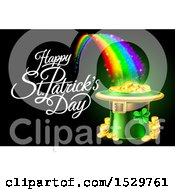 Clipart Of A Happy St Patricks Day Greeting With A Leprechaun Hat Full Of Gold Coins At The End Of A Rainbow On Black Royalty Free Vector Illustration