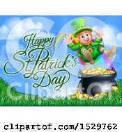 Clipart Of A Happy St Patricks Day Greeting By A Leprechaun Jumping Over A Pot Of Gold At The End Of A Rainbow Royalty Free Vector Illustration