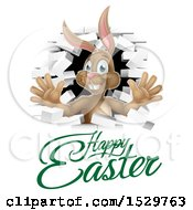 Happy Easter Greeting Under A White Bunny Rabbit Breaking Through A White Brick Wall