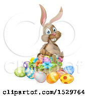 Brown Easter Bunny Rabbit With A Basket Of Eggs And Flowers