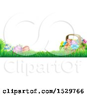 Border Of A Basket And Eggs With Flowers In Grass
