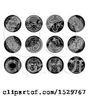 Clipart Of Round Black And White Zodiac Astrology Horoscope Star Signs Royalty Free Vector Illustration by AtStockIllustration