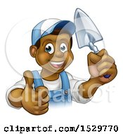 Poster, Art Print Of Black Male Mason Worker Holding A Trowel And Giving A Thumb Up