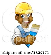 Poster, Art Print Of Happy Black Male Painter Holding A Brush Around A Sign
