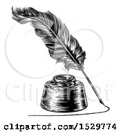 Clipart Of A Feather Quill Pen Drawing A Line Around An Ink Well Royalty Free Vector Illustration
