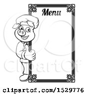Black And White Chef Pig Giving A Thumb Up Around A Menu Board
