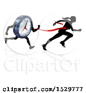 Clipart Of A Silhouetted Woman Sprinting Through A Finish Line Before A Clock Character Royalty Free Vector Illustration