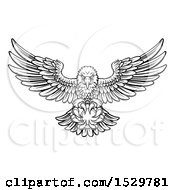 Clipart Of A Black And White Swooping American Bald Eagle With A Tennis Ball In His Talons Royalty Free Vector Illustration