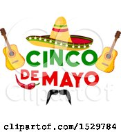Clipart Of A Cinco De Mayo Design With A Sombrero Guitars Pepper And Mustache Royalty Free Vector Illustration by Vector Tradition SM