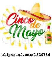 Clipart Of A Cinco De Mayo Design With A Sombrero And Bottle Of Tequila Royalty Free Vector Illustration