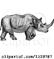Clipart Of A Sketched Rhino In Profile Royalty Free Vector Illustration
