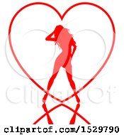 Poster, Art Print Of Red Silhouetted Sexy Woman Over A Heart Outline With A Reflection