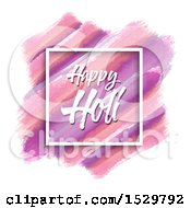 Clipart Of A Happy Holi Greeting In A Frame Over Watercolor Strokes On White Royalty Free Vector Illustration