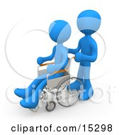 Blue Person Pushing Another Person In A Wheelchair In A Hospital