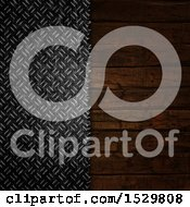 Clipart Of A Background Of Diamond Plate Metal Meeting Wood Royalty Free Illustration