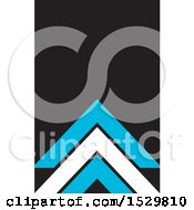 Clipart Of A Black Business Card Design With White And Blue Roof Tops Or Triangles Royalty Free Vector Illustration
