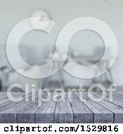 Clipart Of A 3d Gray Wooden Surface In A Blurred Room Royalty Free Illustration