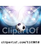 Clipart Of A 3d Soccer Ball Under Flares And Spot Lights Royalty Free Vector Illustration