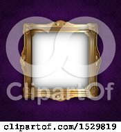 Poster, Art Print Of Golden Ornate Blank Picture Frame Over A Purple Wall