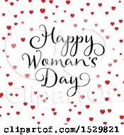 Happy Womans Day Design With Hearts On White