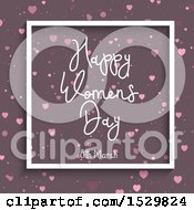 Happy Womans Day Design In A Frame With Hearts On Purple