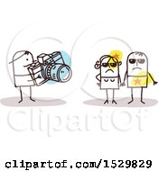 Clipart Of A Stick Man Photographer Taking Pictures Of Celebrities Royalty Free Vector Illustration