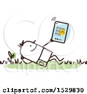 Clipart Of A Stick Man Using A Tablet Outdoors Royalty Free Vector Illustration