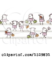 Clipart Of A Group Of Stick Women Pedestrians Royalty Free Vector Illustration