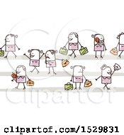Poster, Art Print Of Group Of Stick Women Pedestrians