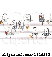Clipart Of A Group Of Stick Business Men Royalty Free Vector Illustration