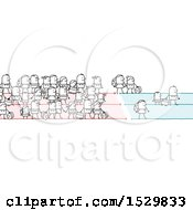 Clipart Of A Crowd Of Stick People Refugees Or Immigrants Royalty Free Vector Illustration