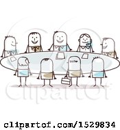 Clipart Of A Group Of Stick Business Men Around A Meeting Table Royalty Free Vector Illustration